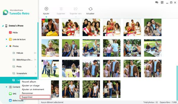 supprimer photos sur ipod touch