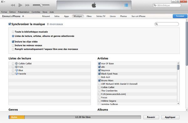 transferer musique iOS 7