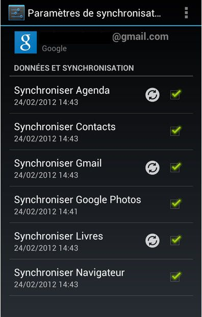 synchroniser cotnact gmail