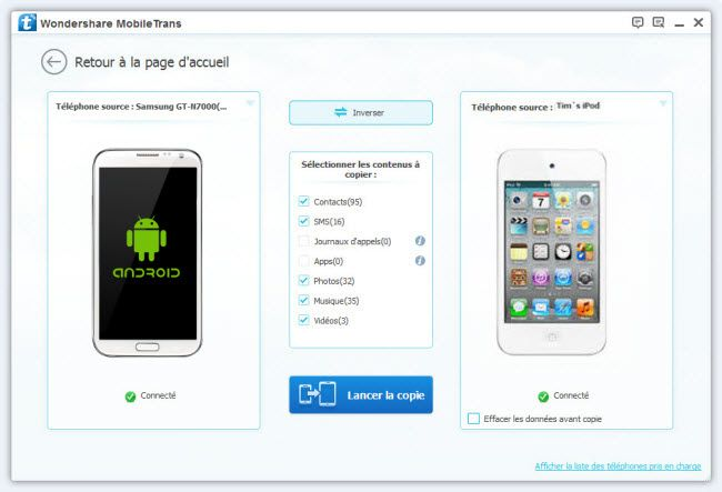 transfert sms android vers android
