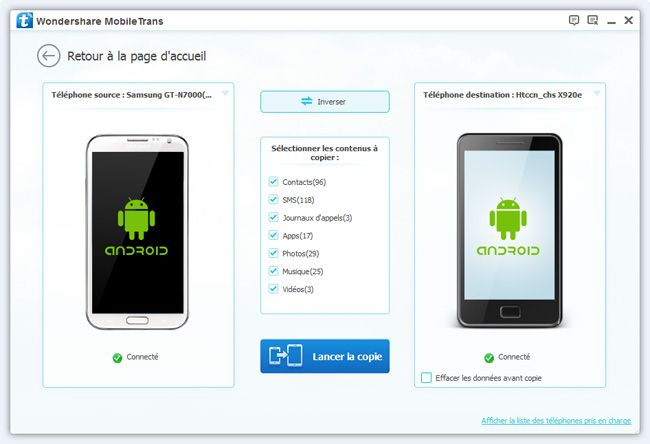 transferer des contacts Android