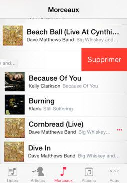 supprimer musique iPhone