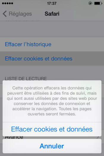 supprimer cookies sur iPhone