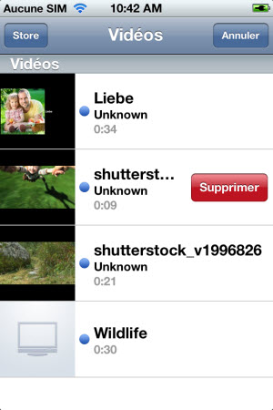 supprimer video iPhone