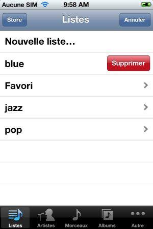 supprimer liste de lecture iPhone