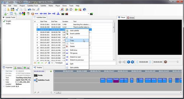 Editeur vidéo AHD Subtitles Maker