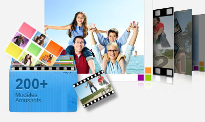 imovie windows - Wondershare DVD Slideshow Builder - Une série de diapositives sorties d'une boîte bleue