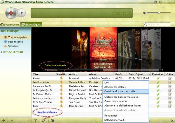 trouver des musique enregistrées Deezer
