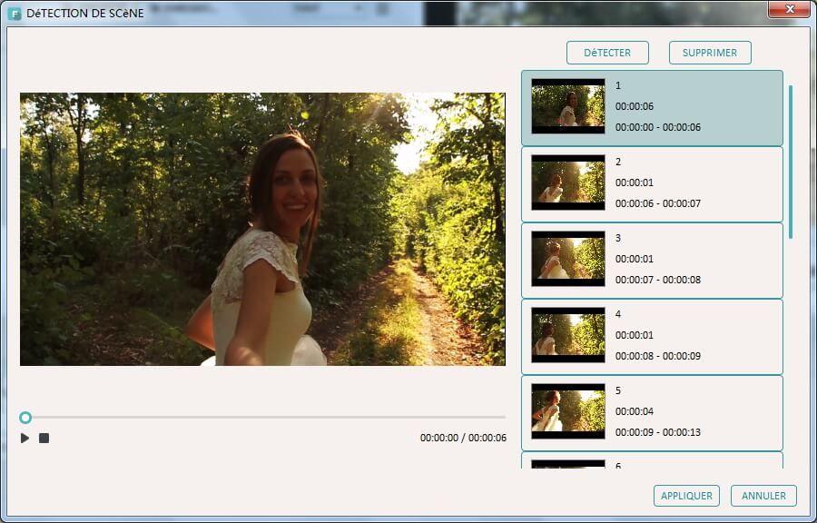imovie windows 10 - Écran montrant la possibilité de détection de scènes automatique de iMovie pc