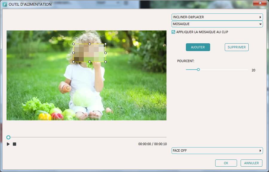 imovie gratuit - Écran montrant l'ajout de flou mosaïque pour iMovie pc