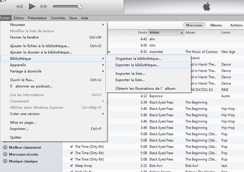 exporter musique itunes