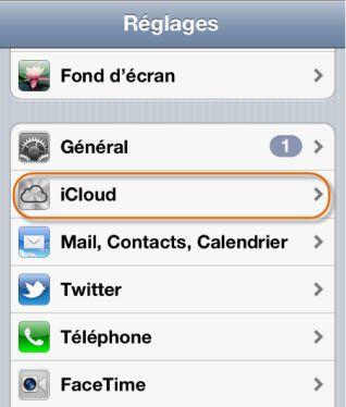 reglage iphone icloud