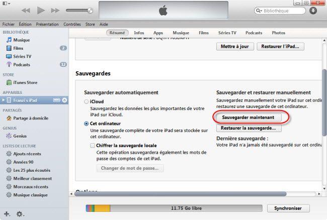 sauvegarder des données avant de mise à jour iOS 8