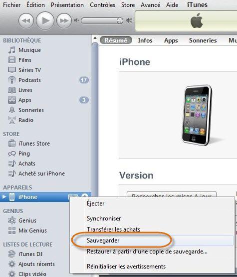 sauvegarder iphone par iTunes