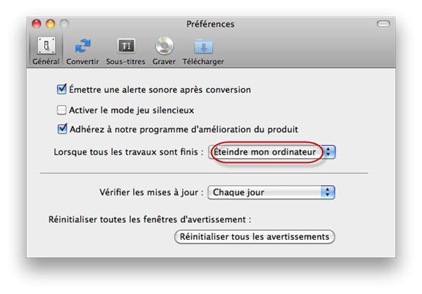 Lancer conversion avi en iTunes