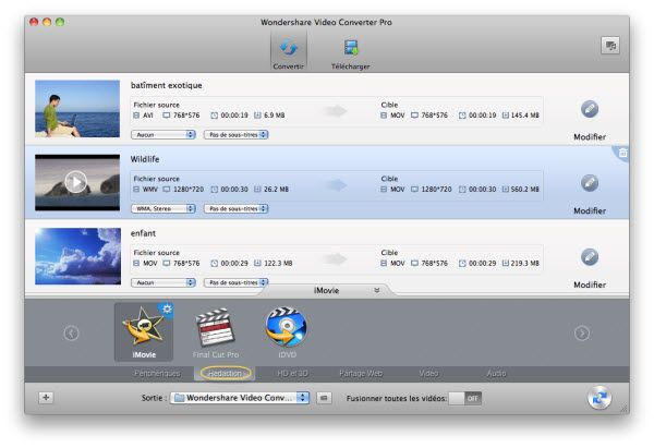 convertir FLV vers iMovie