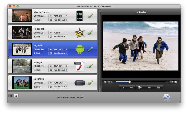 Interface de Video Converter