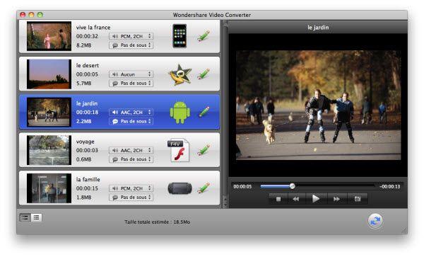 Interface de Video Converter