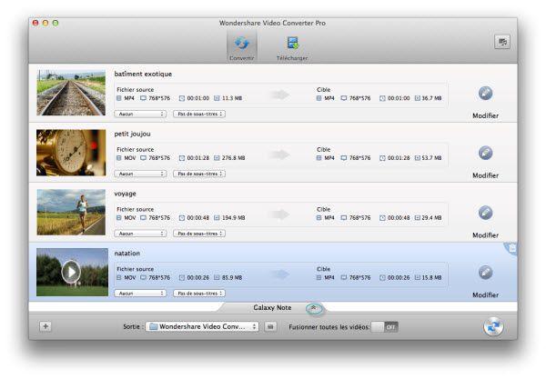 interface principale de convertisseur mkv ipod