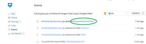 fichiers supprimés dropbox