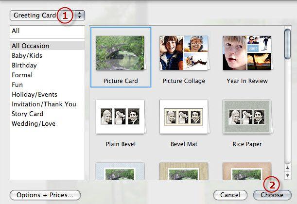 Pour Acheter Des Cartes De Voeux DApple Vous Pouvez Cliquer Sur Le Options Prix Ouvrir La Page Imprimer IPhoto Web Produits Qui Montrera