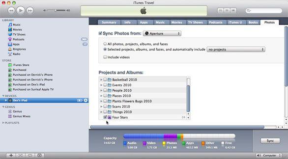 upload iphoto to ipad
