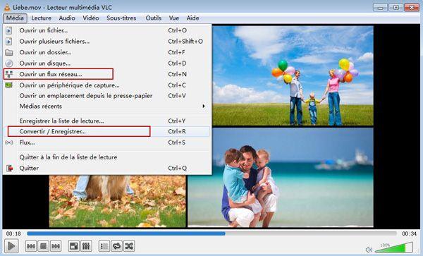 interface d'app VLC