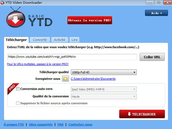capture d'ecran de YTD video downloader