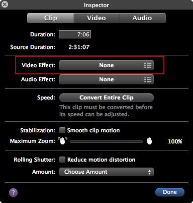 effets vidéo dans iMovie