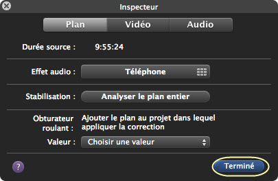 Clip adjustements iMovie